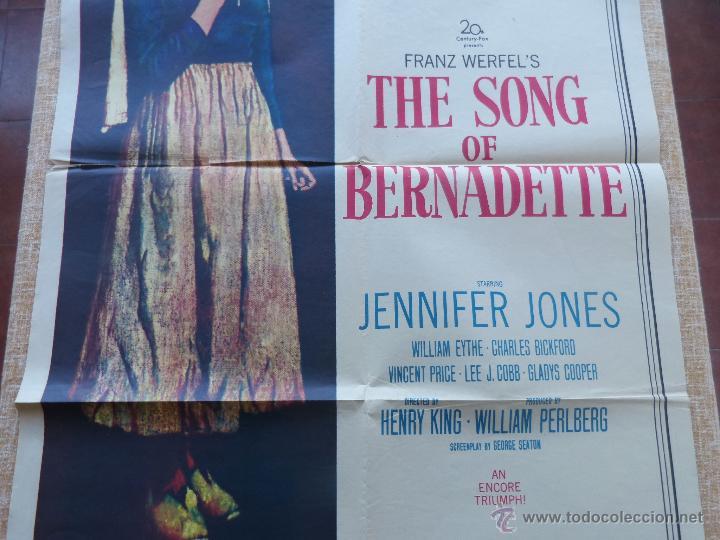 Cine: The Song of Bernadette Póster original de la película, Original, Doblado, año 1958, Hecho en U.S.A. - Foto 5 - 44125294