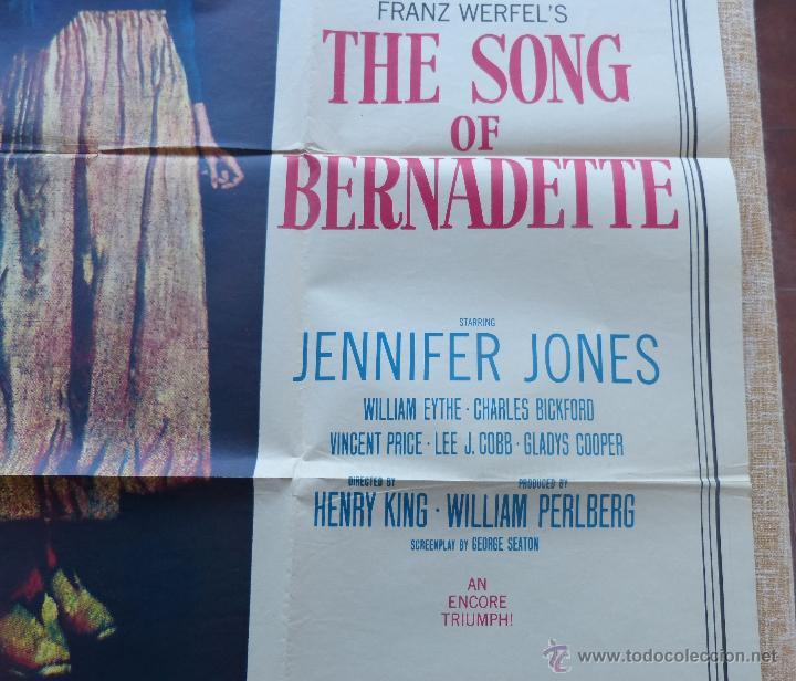 Cine: The Song of Bernadette Póster original de la película, Original, Doblado, año 1958, Hecho en U.S.A. - Foto 7 - 44125294