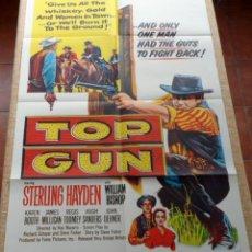 Cine: TOP GUN PÓSTER ORIGINAL DE LA PELÍCULA, ORIGINAL, DOBLADO, AÑO 1955, STERLING HAYDEN, HECHO EN U.S.A. Lote 44232478