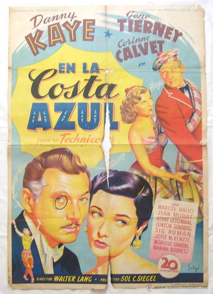 CARTEL POSTER ORIGINAL *EN LA COSTA AZUL* DANNY KAYE GENE TIERNEY. SOLIGÓ (Cine - Posters y Carteles - Comedia)