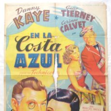 Cine: CARTEL POSTER ORIGINAL *EN LA COSTA AZUL* DANNY KAYE GENE TIERNEY. SOLIGÓ. Lote 44345666