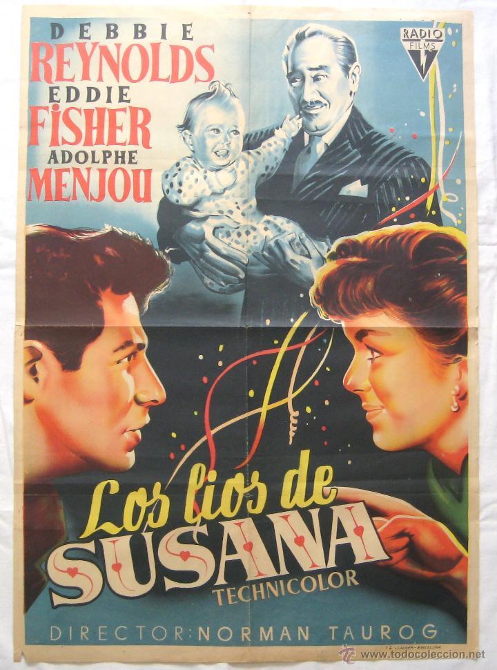 CARTEL POSTER ORIGINAL *LOS LIOS DE SUSANA* DEBBIE REYNOLDS EDDIE FISHER (Cine - Posters y Carteles - Comedia)