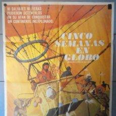 Cine: (12207)CINCO SEMANAS EN GLOBO, CARTEL DE CINE ORIGINAL 70X100 APROX,CONSERVACION:VER FOTO . Lote 44436416