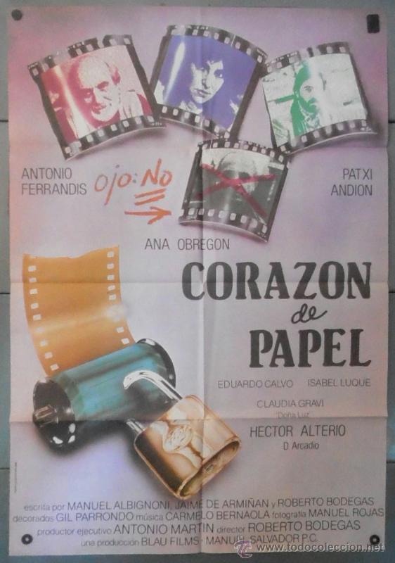 (12343)CORAZÓN DE PAPEL, CARTEL DE CINE ORIGINAL 70X100 APROX,CONSERVACION:VER FOTO (Cine - Posters y Carteles - Clasico Español)