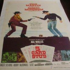 Cine: 5 CARD STUD PÓSTER DE LINO ORIGINAL DE LA PELÍCULA, ORIGINAL, ENROLLADO, DE LINO, AÑO 1968, U.S.A.. Lote 44443850