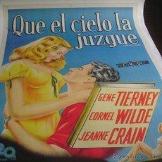 Cine: QUE EL CIELO LA JUZGUE PÓSTER DE LINO ARGENTINO ORIGINAL DE LA PELÍCULA, ENROLLADO, ARGENTINO, R1950. Lote 44444121