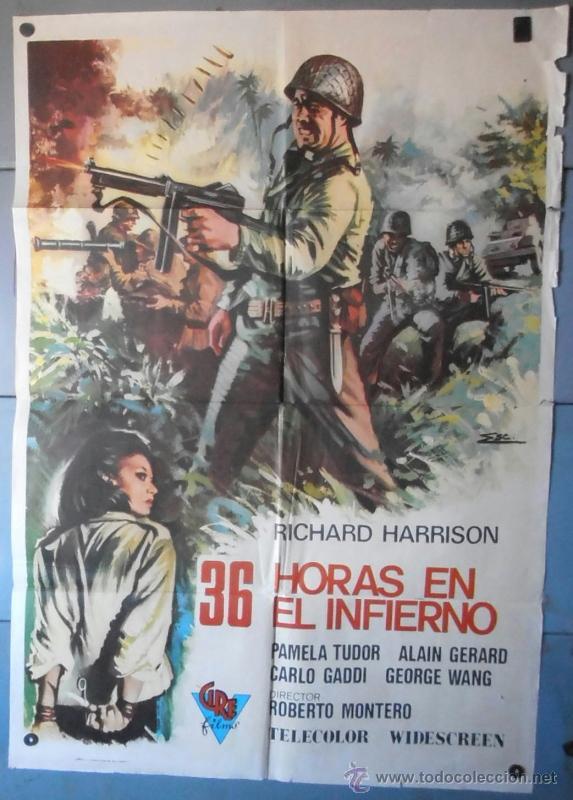 (12676)36 HORAS EN EL INFIERNO, CARTEL DE CINE ORIGINAL 70X100 APROX,CONSERVACION:VER FOTO (Cine - Posters y Carteles - Bélicas)