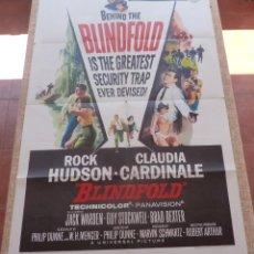 Cine: BLINDFOLD PÓSTER ORIGINAL DE LA PELÍCULA, ORIGINAL, DOBLADO, AÑO 1966, HECHO EN U.S.A., ROCK HUDSON. Lote 44710706