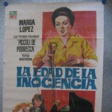 Cine: LA EDAD DE LA INOCENCIA. MARGA LOPEZ.PICCOLI DE PODRECCA, TITERES ITALIANOS. AÑO 1964. CARTEL MEXICO. Lote 44725582