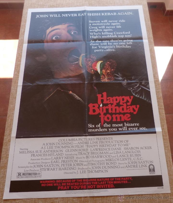 HAPPY BIRTHDAY TO ME PÓSTER ORIGINAL DE LA PELÍCULA, ORIGINAL, DOBLADO, AÑO 1981, HECHO EN U.S.A. (Cine - Posters y Carteles - Terror)