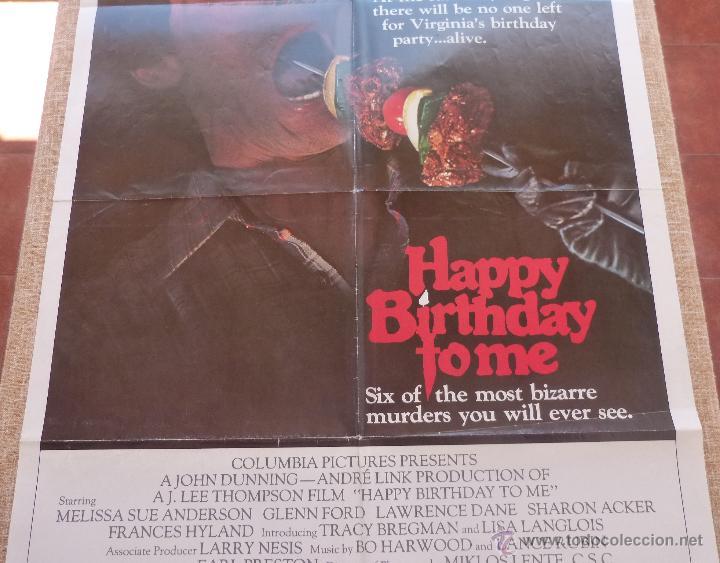 Cine: Happy Birthday To Me Póster original de la película, Original, Doblado, año 1981, Hecho en U.S.A. - Foto 4 - 44963493