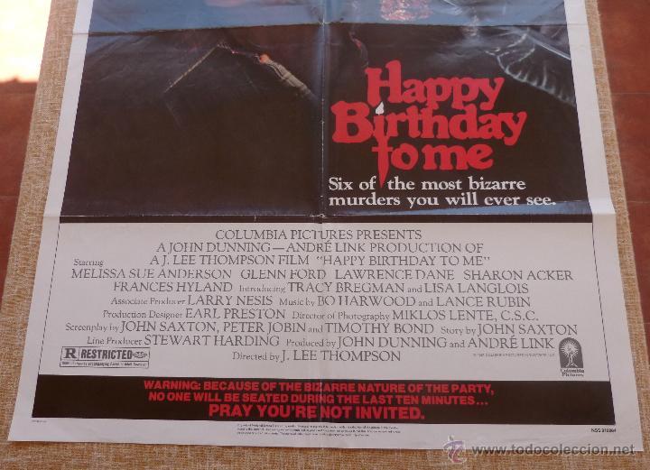 Cine: Happy Birthday To Me Póster original de la película, Original, Doblado, año 1981, Hecho en U.S.A. - Foto 5 - 44963493