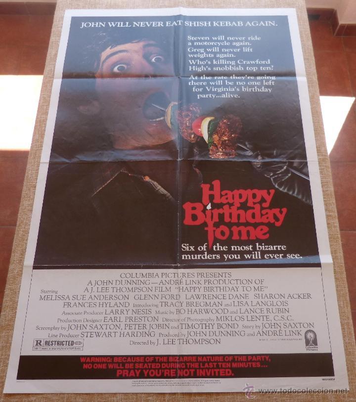 Cine: Happy Birthday To Me Póster original de la película, Original, Doblado, año 1981, Hecho en U.S.A. - Foto 6 - 44963493