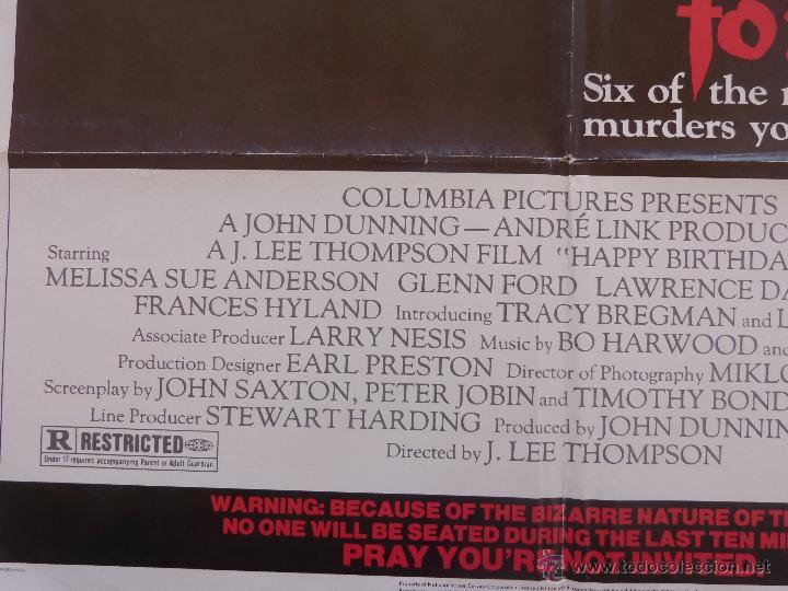 Cine: Happy Birthday To Me Póster original de la película, Original, Doblado, año 1981, Hecho en U.S.A. - Foto 9 - 44963493