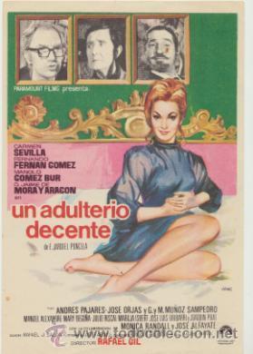 UN ADULTERIO DECENTE. SENCILLO DE PARAMOUNT. (Cine - Posters y Carteles - Clasico Español)