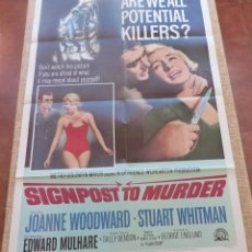 Cine: SIGNPOST TO MURDER PÓSTER ORIGINAL DE LA PELÍCULA, ORIGINAL, DOBLADO, AÑO 1965, HECHO EN U.S.A.. Lote 45104797