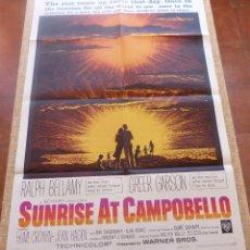 Cine: SUNRISE AT CAMPOBELLO PÓSTER ORIGINAL DE LA PELÍCULA, ORIGINAL, DOBLADO, AÑO 1960, HECHO EN U.S.A.. Lote 45104840
