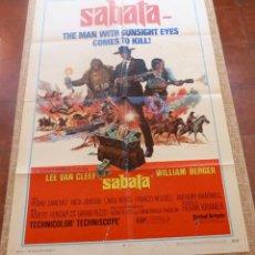 Cine: SABATA PÓSTER ORIGINAL DE LA PELÍCULA, ORIGINAL, DOBLADO, AÑO 1970, HECHO EN U.S.A., WILLIAM BERGER. Lote 45105498