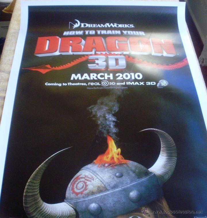 HOW TO TRAIN YOUR DRAGON PÓSTER ORIGINAL DE LA PELÍCULA, ENROLLADO, DOBLE CARA, TEASER, AÑO 2009 (Cine - Posters y Carteles - Aventura)