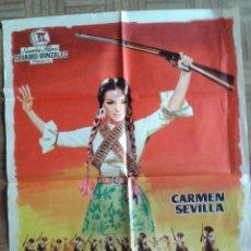 Cine: LA GUERRILLERA DE VILLA. POSTER ESTRENO 70X100. JANO. CARMEN SEVILLA. Lote 45146760