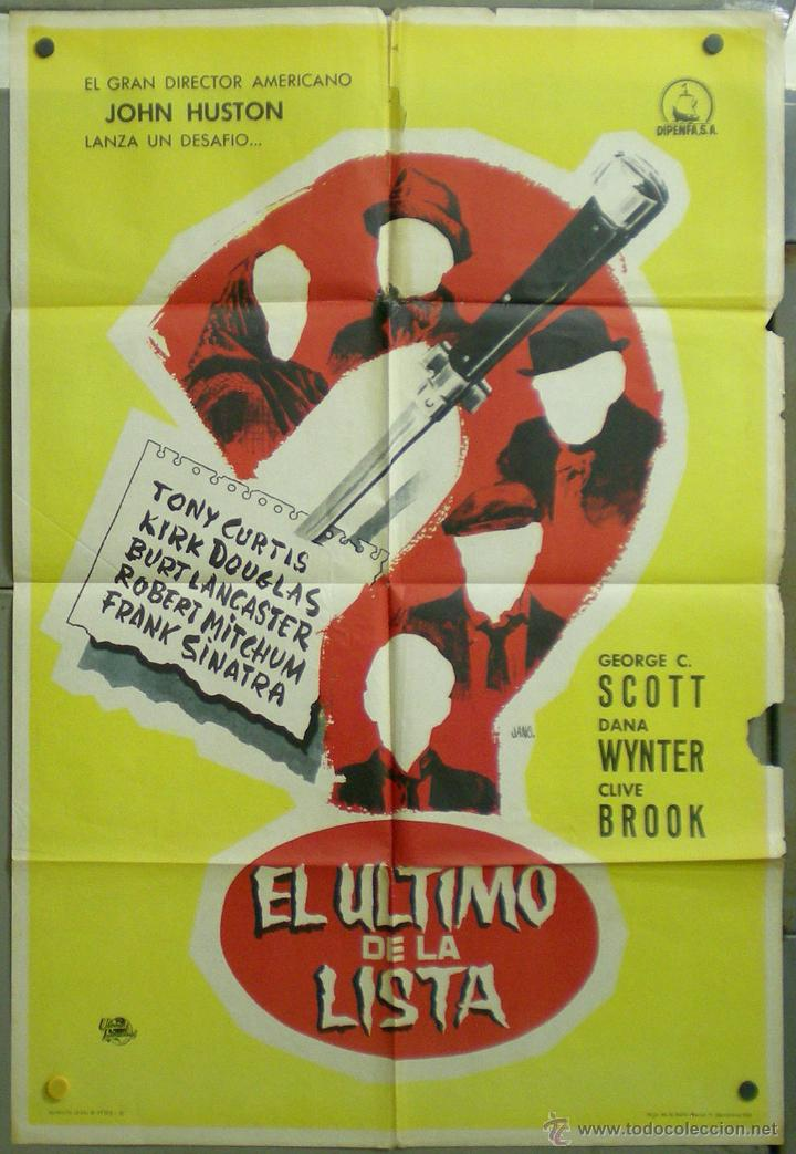 UZ77 EL ULTIMO DE LA LISTA JOHN HUSTON KIRK DOUGLAS GEORGE C. SCOTT JANO POSTER ORIG 70X100 ESTRENO (Cine - Posters y Carteles - Suspense)