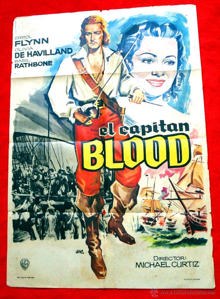 EL CAPITAN BLOOD (CARTEL ORIGINAL DEL AÑO 1964) ERROL FLYNN (Cine - Posters y Carteles - Aventura)