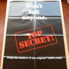 Cine: TOP SECRET PÓSTER ORIGINAL DE LA PELÍCULA, ORIGINAL, DOBLADO, AÑO 1984, HECHO EN U.S.A., VAL KILMER. Lote 45304515
