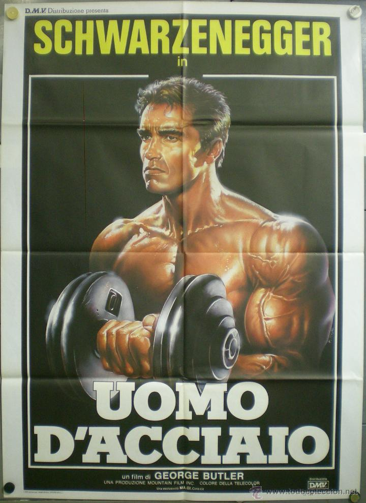 QM69 PUMPING IRON ARNOLD SCHWARZENEGGER POSTER ORIGINAL ITALIANO 100X140 (Cine - Posters y Carteles - Acción)