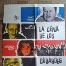 Cine: LA CENA DE LOS COBARDES. POSTER ESTRENO 100X70. ADOLFO MARSILLACH, ANTONELLA LUALDI. Lote 45590618