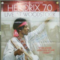Cine: QM90 HENDRIX 70 LIVE AT WOODSTOCK JIMI HENDRIX POSTER ORIGINAL ITALIANO 100X140. Lote 45610806
