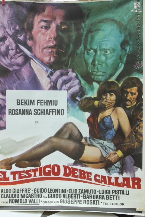 CARTEL ORIGINAL PELICULA EL TESTIGO DEBE CALLAR 1978 LEON FILM (Cine - Posters y Carteles - Acción)