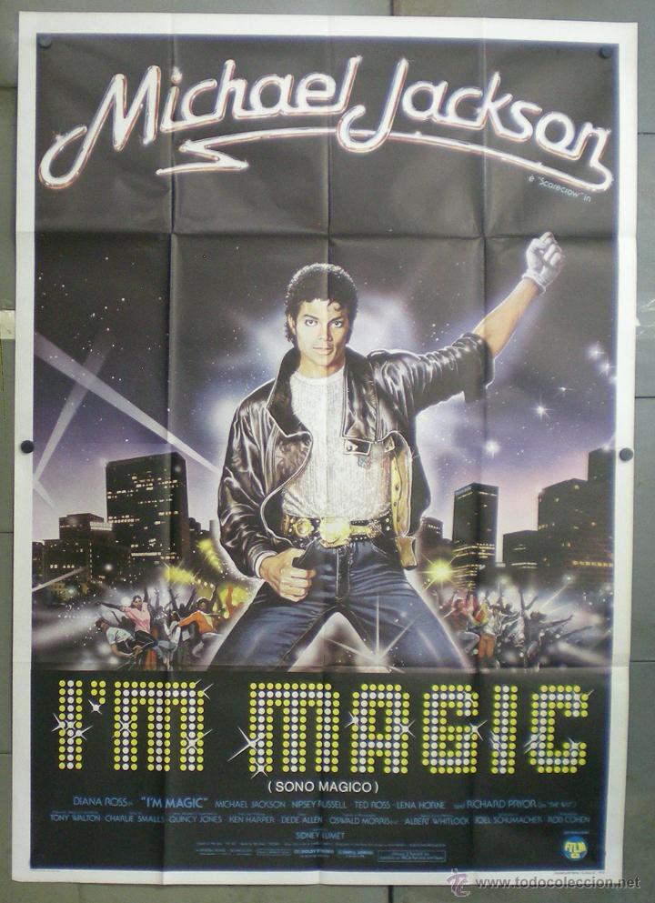 QN46 EL MAGO MICHAEL JACKSON DIANA ROSS POSTER ORIGINAL ITALIANO 140X200 (Cine - Posters y Carteles - Musicales)