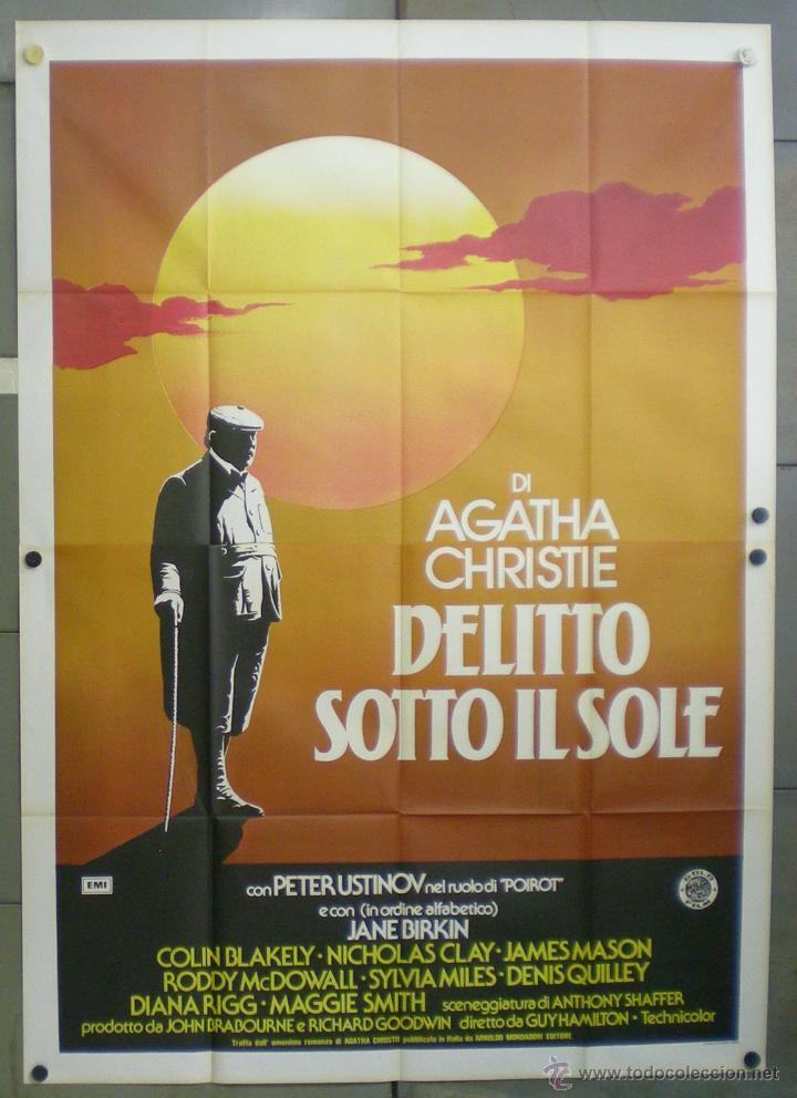 QN65 MUERTE BAJO EL SOL AGATHA CHRISTIE HERCULES POIROT USTINOV POSTER ORIGINAL ITALIANO 140X200 (Cine - Posters y Carteles - Suspense)