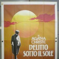Cine: QN65 MUERTE BAJO EL SOL AGATHA CHRISTIE HERCULES POIROT USTINOV POSTER ORIGINAL ITALIANO 140X200. Lote 45691140