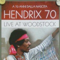 Cine: QO39 HENDRIX 70 LIVE AT WOODSTOCK JIMI HENDRIX POSTER ORIGINAL 33X70 ITALIANO. Lote 168871449
