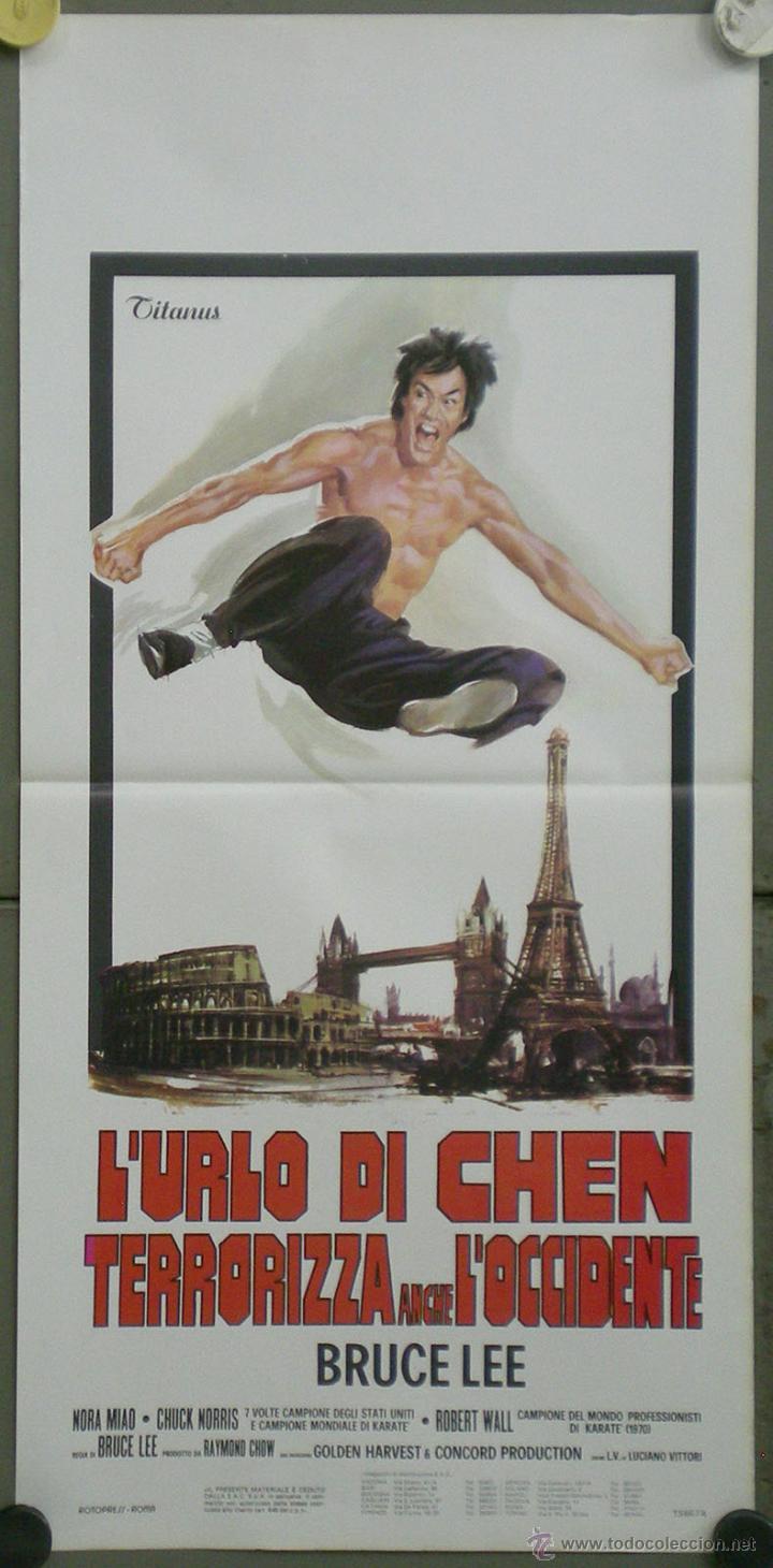 QT62 EL FUROR DEL DRAGON BRUCE LEE CHUCK NORRIS POSTER ORIGINAL ITALIANO 33X70 (Cine - Posters y Carteles - Acción)