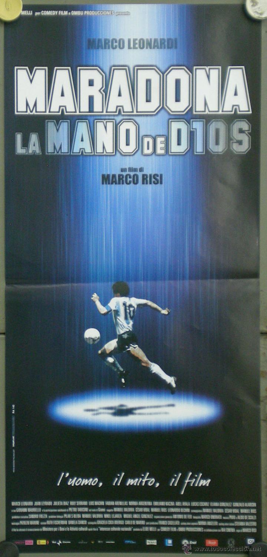QO22 MARADONA LA MANO DE DIOS FUTBOL POSTER ORIGINAL ITALIANO 33X70 (Cine - Posters y Carteles - Deportes)
