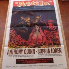 Cine: ATTILA PÓSTER ORIGINAL DE LA PELÍCULA, ORIGINAL, DOBLADO, AÑO REPRODUCIÓN DE 1962, HECHO EN U.S.A.. Lote 45988549