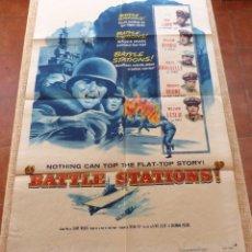 Cine: BATTLE STATIONS PÓSTER ORIGINAL DE LA PELÍCULA, ORIGINAL, DOBLADO, AÑO 1956, HECHO EN U.S.A.. Lote 45990211