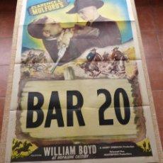 Cine: WILLIAM BOYD / BAR 20 PÓSTER ORIGINAL DE LA PELÍCULA, DOBLADO, DE LOS AÑOS 40, HECHO EN USA, USADO. Lote 46054609