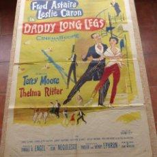 Cine: DADDY LONG LEGS PÓSTER ORIGINAL DE LA PELÍCULA, ORIGINAL, DOBLADO, AÑO 1955, HECHO EN U.S.A., USADO. Lote 46055150