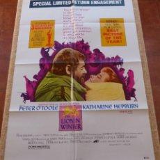 Cine: THE LION IN WINTER PÓSTER ORIGINAL DE LA PELÍCULA, ORIGINAL, DOBLADO, REPRODUCCIÓN DEL AÑO 1975, USA. Lote 46087734