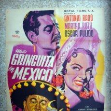 Cine: CARTEL CINE , UNA GRINGUITA EN MEXICO , MEXICO, ILUSTRADO POR RENAU , 1951 , ORIGINAL. Lote 46239744