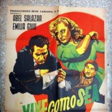 Cine: CARTEL CINE , VIVE COMO SEA , MEXICO, ILUSTRADO POR RENAU , 1951 , ORIGINAL. Lote 46240380