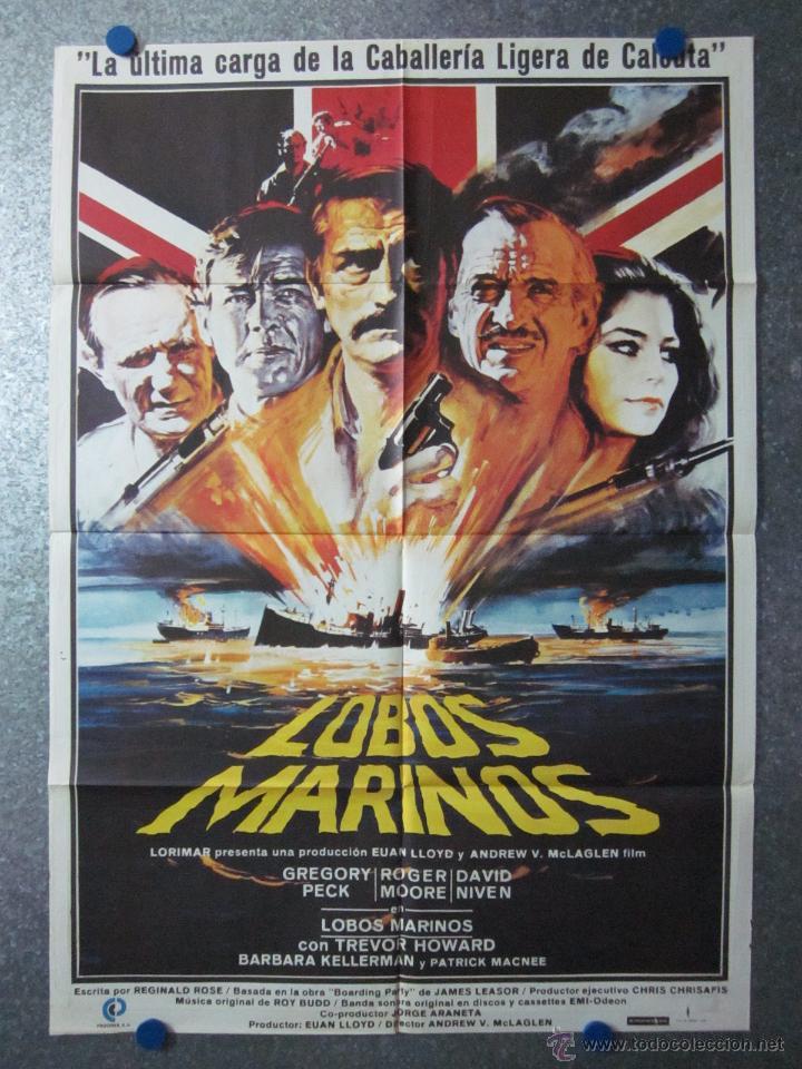 LOBOS MARINOS, GREGORY PECK, ROGER MOORE, DAVID NIVEN (Cine - Posters y Carteles - Bélicas)