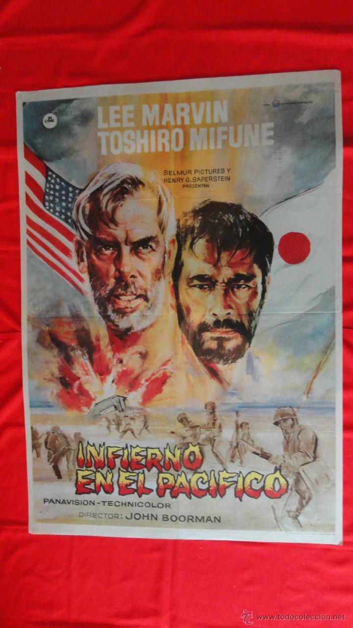 INFIERNO EN EL PACIFICO, PÓSTER ORIGINAL 1969, EXCTE. ESTADO, LEE MARVIN TOSHIRO MIFUNE, 70X100CMS (Cine - Posters y Carteles - Bélicas)
