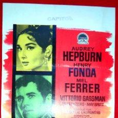 Cine: GUERRA Y PAZ (CARTEL ORIGINAL) AUDREY HEPBURN - HENRY FONDA - MEL FERRER. Lote 46405495