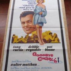Cine: GOODBYE CHARLIE PÓSTER ORIGINAL DE LA PELÍCULA, ORIGINAL, DOBLADO, AÑO 1964, HECHO EN U.S.A., USADO. Lote 46793539