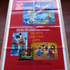 Cine: MICKEY´S CHRISTMAS CAROL / THE RESCUERS PÓSTER ORIGINAL DE LA PELÍCULA, DOBLADO, AÑO R1983, U.S.A.. Lote 46794765