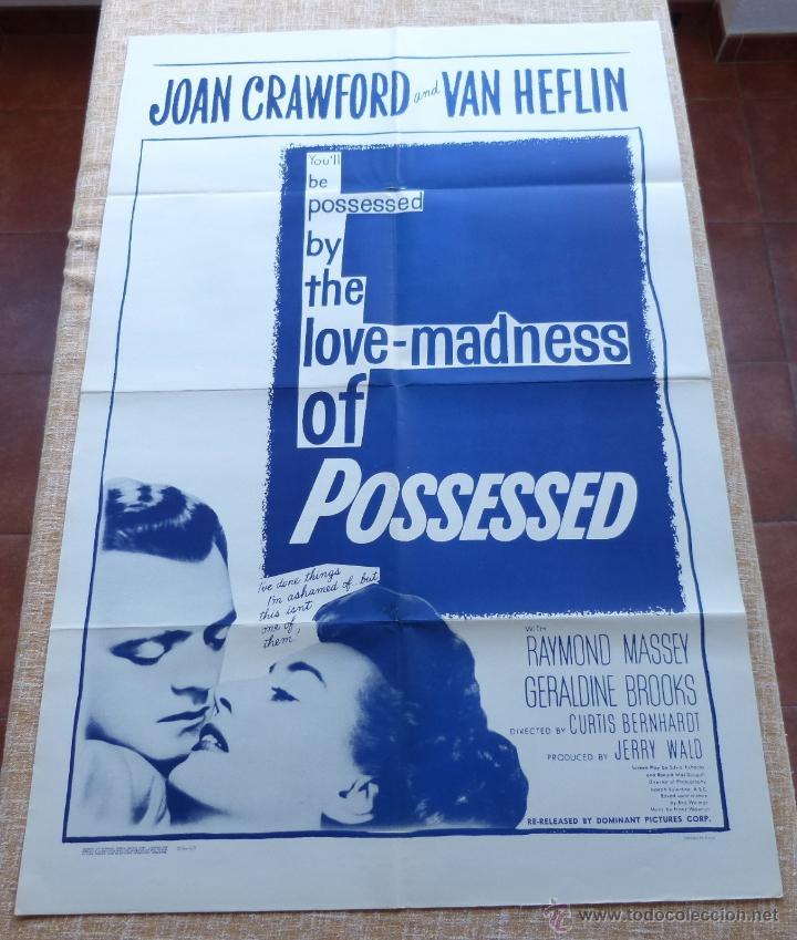 POSSESSED PÓSTER ORIGINAL DE LA PELÍCULA, DOBLADO, REPRODUCCIÓN DEL AÑO 1956, U.S.A., PÓSTER USADO (Cine- Posters y Carteles - Drama)
